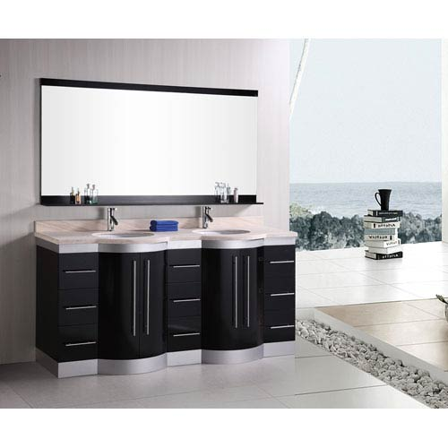 Jasper Dark Espresso 72 Inch Double Sink Vanity Set with Travertine Stone Countertop
