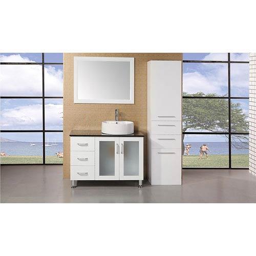 Malibu 39 Inch Pearl White Single Sink Modern Bathroom Vanity