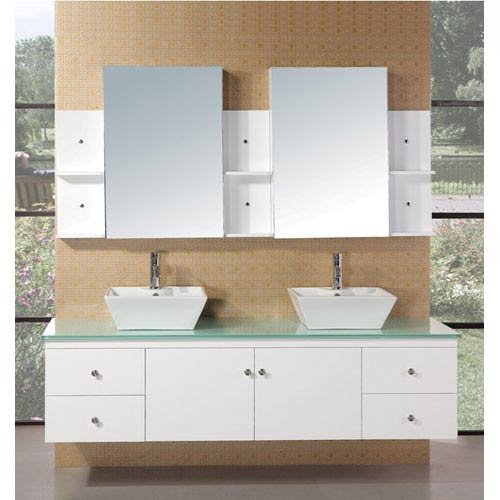 Design Element Portland 71 Inch White Double Sink Bathroom Vanity