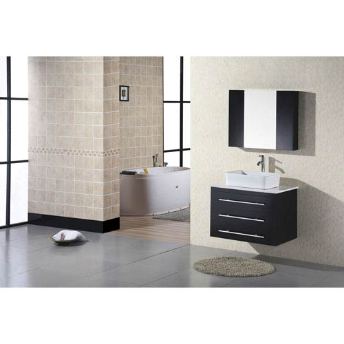 Design Element Elton Dark Espresso 30 Inch Wall Mount Bathroom Vanity