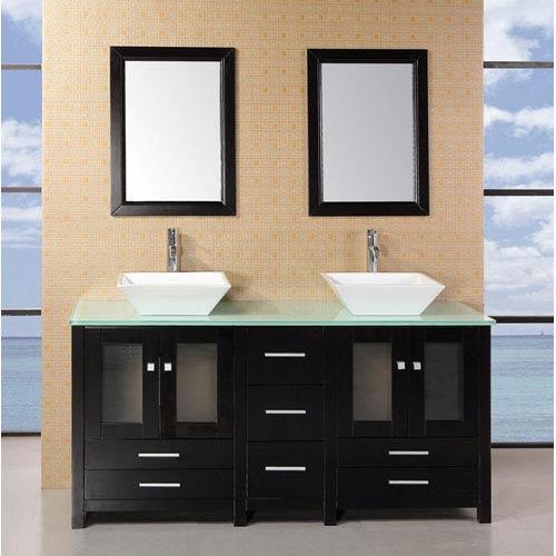 Design Element Arlington Dark Espresso 61 Inch Double Sink Bathroom Vanity with Glass Top