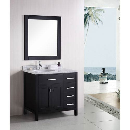 London Dark Espresso 36 Inch Modern Bathroom Vanity