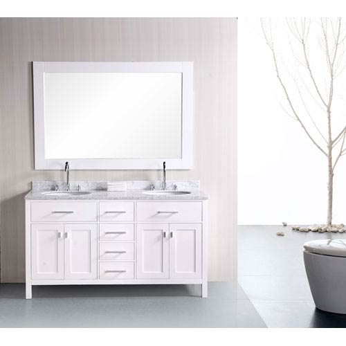 Design Element London 61 Inch Pearl White Double Sink Bathroom Vanity Set