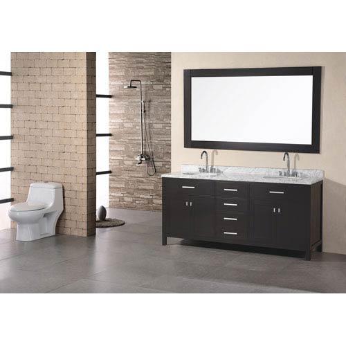 Design Element London Dark Espresso 72 Inch Double Sink Vanity Set