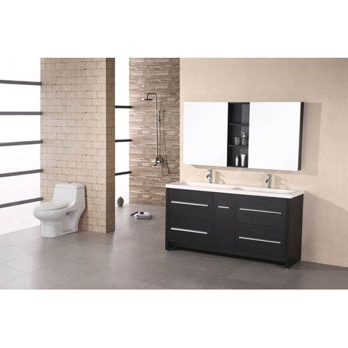 Design Element Perfecta Dark Espresso 63 Inch Double Sink Vanity Set