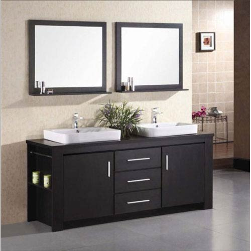 Design Element Washington Dark Espresso Double Sink Vanity Set