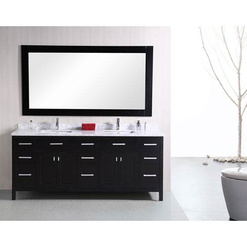 Design Element London Dark Espresso 78 Inch Modern Double Bathroom Vanity