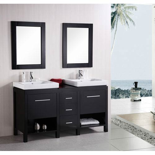 Design Element New York Dark Espresso 60 Inch Contemporary Bathroom Vanity