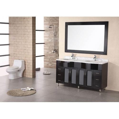 Design Element Tustin Dark Espresso 61 Inch Double Sink Vanity Set