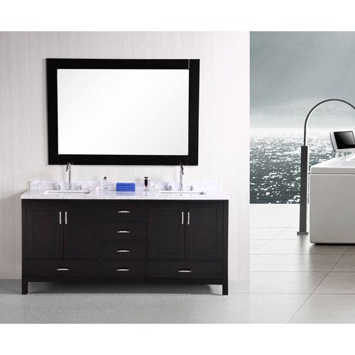 London Dark Espresso 72 Inch Double Sink Vanity Set