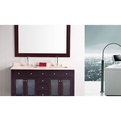 Design Element Venetian Dark Espresso 60 Inch Double Sink Bathroom Vanity