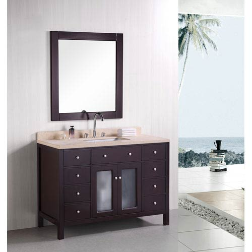Design Element Venetian Dark Espresso 48 Inch Single Sink Bathroom Vanity with Beige natural marble countertop