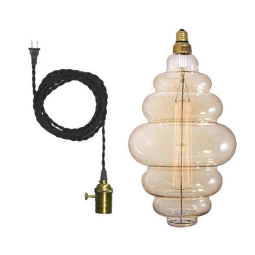 Antique Nostalgic Bee Hive Standard Base Amber 100 Lumens Oversized Bulb Pendant