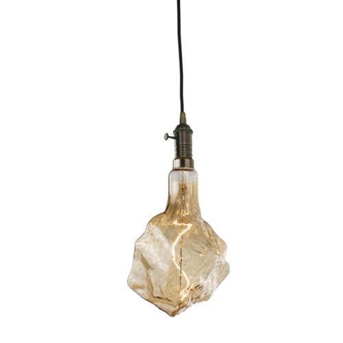 Antique Nostalgic Iceberg Standard Base Amber 180 Lumens Oversized Bulb Pendant