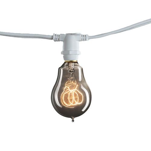 White 10-Light 14-Foot Outdoor String Light Kit with Nostalgic Loop Bulbs
