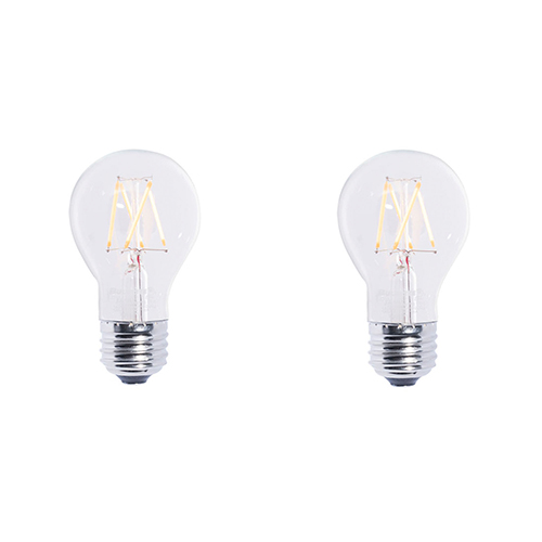 Bulbrite 2 Pack 40W Equivalent A19 E26 2700K Dimmable LED Filament Warm White Clear Light Bulb