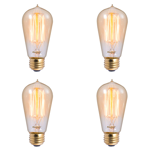 4PK 60W ST18 E26 2200K Dimmable Incandescent Vintage Amber Light Bulb