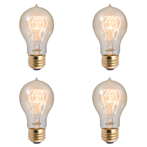 Bulbrite 4PK 40W A19 E26 2200K Dimmable Incandescent Vintage Amber Light Bulb