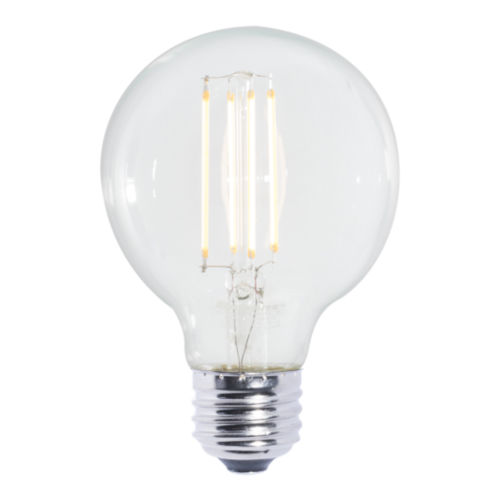 Clear G25, E26 2700K 7W LED Bulb, Pack of Four