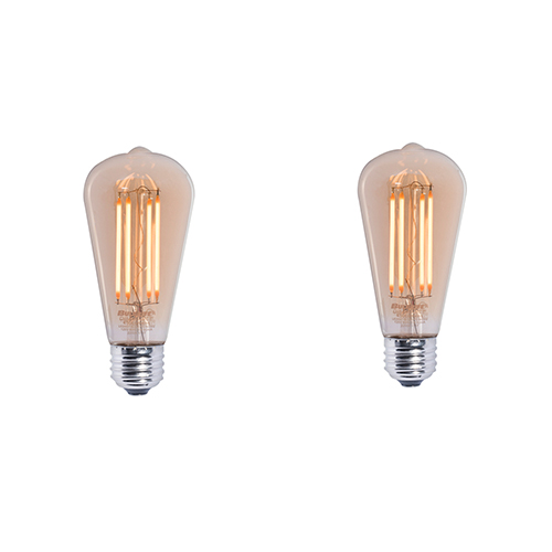 2 Pack 60W Equivalent ST18 E26 2200K Dimmable LED Filament Vintage Amber Light Bulb