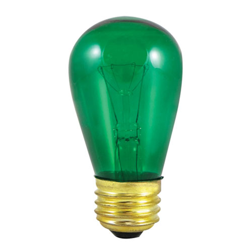 11W S14 E26 Incandescent Green Bulb