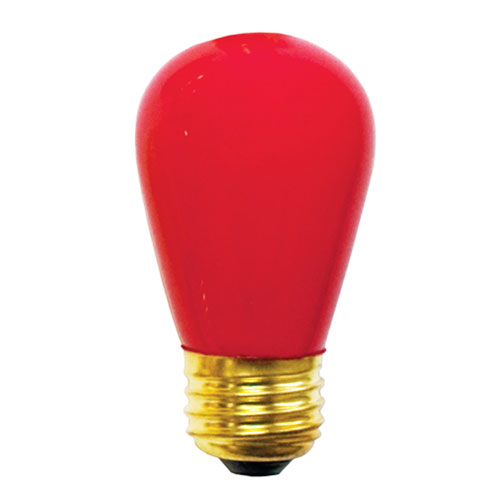 11W S14 E26 Incandescent Red Bulb