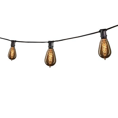 Black 25 Ft Outdoor String Light with Vintage Edison Spiral Filament Bulbs