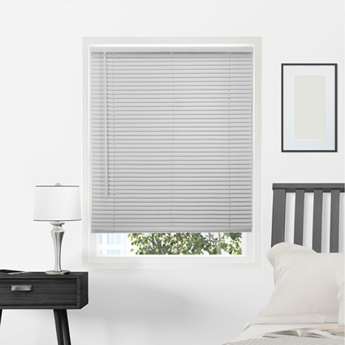 Horizontal Venetian Gloss Gray 64 x 58 In. Cordless Mini Blinds