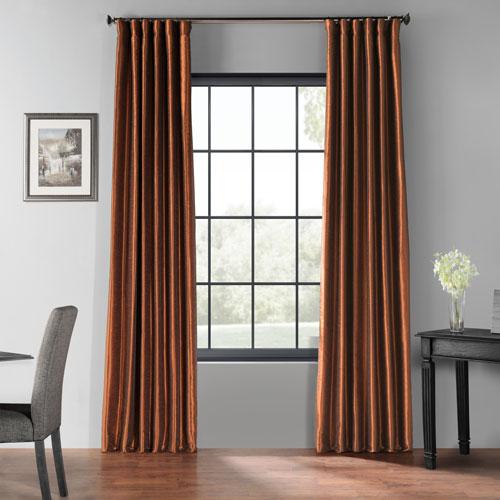 Copper Kettle 108 x 50-Inch Blackout Vintage Textured Faux Silk Curtain Single Panel
