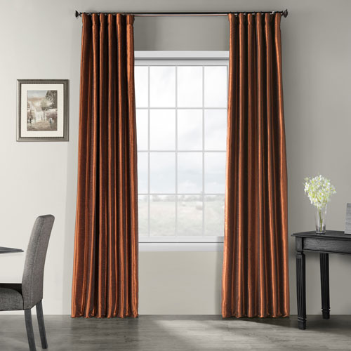 Copper Kettle 84 x 50-Inch Vintage Textured Faux Dupioni Silk Curtain Single Panel