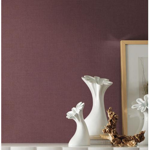 Handpainted  Burgundy Gesso Weave Wallpaper