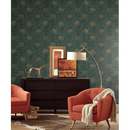 Ronald Redding Tea Garden Teal and Gold French Marigold Wallpaper