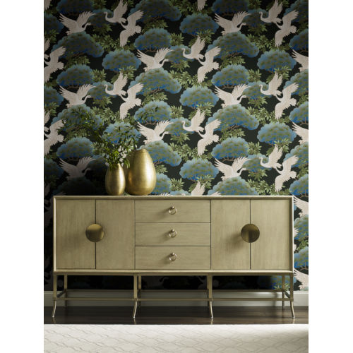 Ronald Redding Tea Garden Black Sprig and Heron Wallpaper