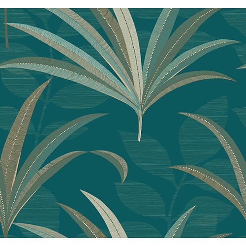 Antonina Vella Deco Blue El Morocco Palm Wallpaper
