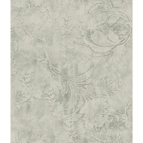 Impressionist Gray Entablature Scroll Wallpaper