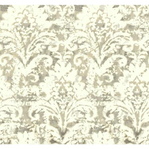 Impressionist Tan Batik Damask Wallpaper