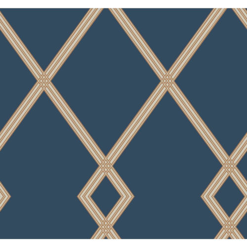 Conservatory Navy and Copper Ribbon Stripe Trellis Wallpaper