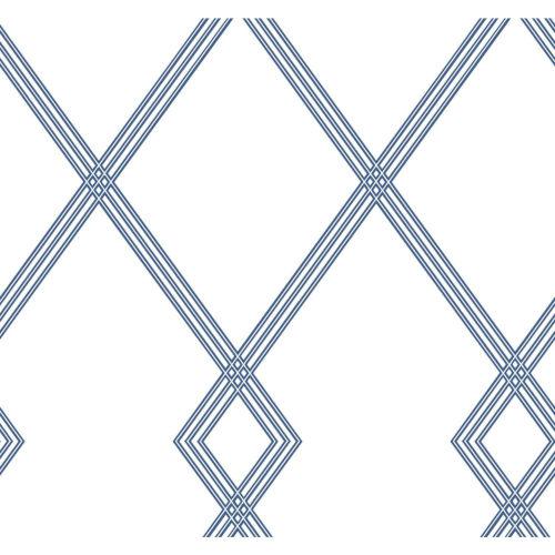 Conservatory White and Blue Ribbon Stripe Trellis Wallpaper