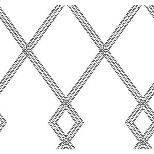 Conservatory White and Black Ribbon Stripe Trellis Wallpaper
