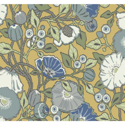 Conservatory Yellow Vincent Poppies Wallpaper