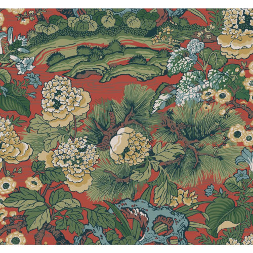 Conservatory Red Dynasty Floral Branch Wallpaper