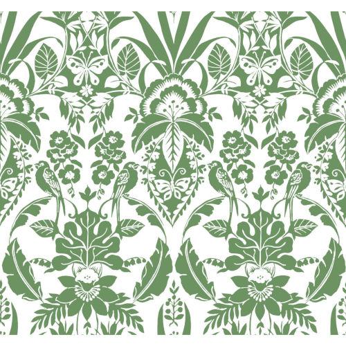 Conservatory Green Botanical Damask Wallpaper