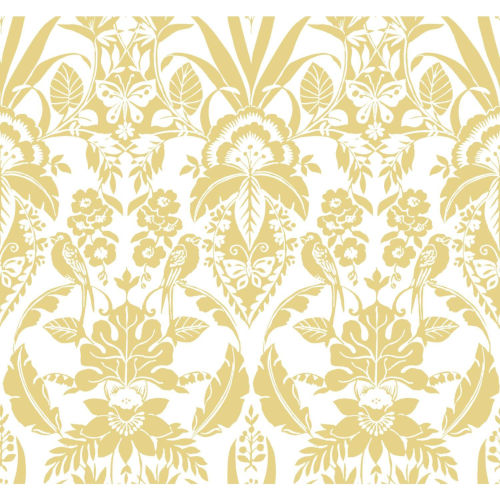 Conservatory Yellow Botanical Damask Wallpaper