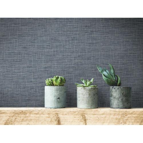 Simply Farmhouse Navy Silk Linen Weave Wallpaper