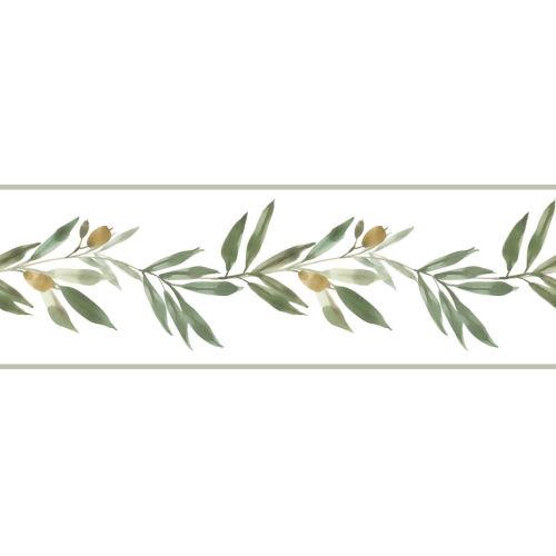Simply Farmhouse Green Olive Branch Wallpaper Border