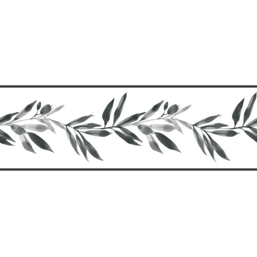 Simply Farmhouse Black and White Olive Branch Wallpaper Border