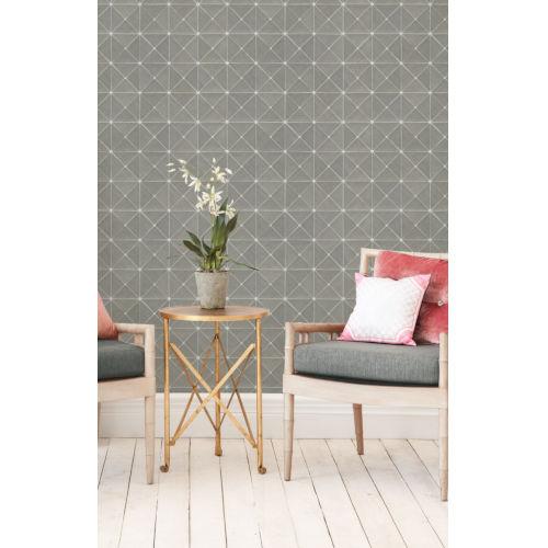 Geometric Resource Library Grey Dazzling Diamond Sisal Wallpaper