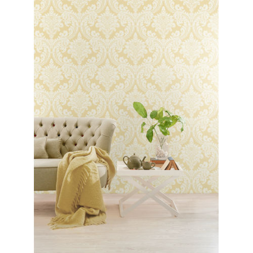 Grandmillennial Yellow Tapestry Damask Pre Pasted Wallpaper