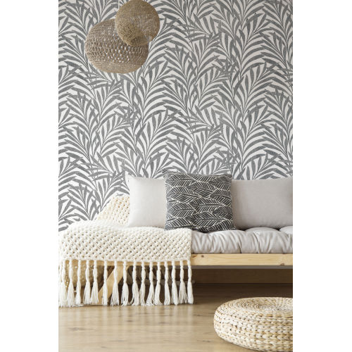 Ronald Redding Handcrafted Naturals Cream and Black Tea Leaves Stripe Wallpaper