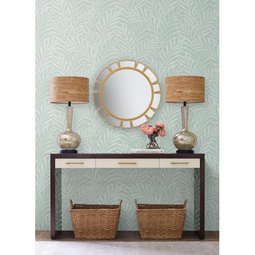 Ronald Redding Handcrafted Naturals Blue Tea Leaves Stripe Wallpaper